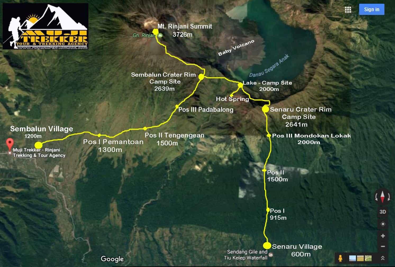 Mount Rinjani Trekking Map - Muji Trekker